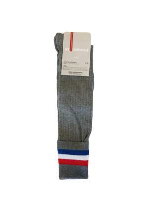 Wellesley College School Sock Grey w Red/White/Blue